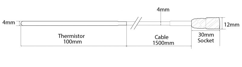 External Thermistor Probe Technical Drawing